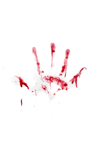 bloody hand print: Human hand and fingers bloody print isolated on white background