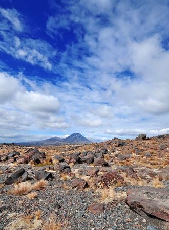 tongariro national park: Ngauruhoe Volcano, Tongariro National Park, New Zealand Stock Photo