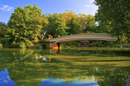 Bridge Reflecting in Pond, Central Park, Manhattan, New York  photo