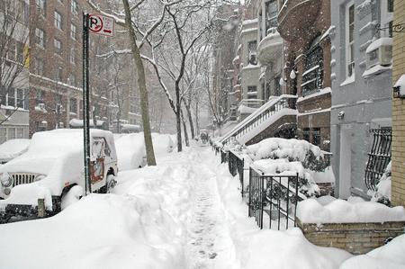 Snow covered street, New York City Stock fotó