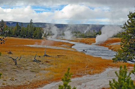 Geysters in Yellowstone National Park, Rocky Mountains, USA photo