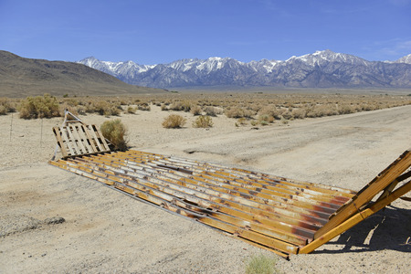 fenceline: Cattle Guard in Road on Ranch in American West, USA