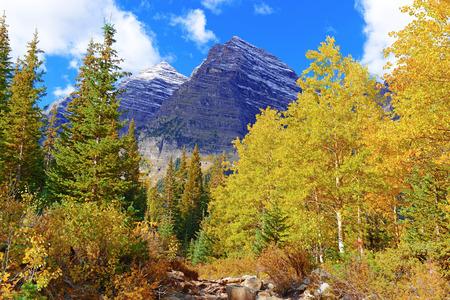 colorado rocky mountains: Fall Foliage with Aspen Trees, Maroon Bells, Colorado Rocky Mountains