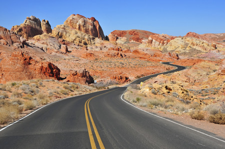 southwest usa: Driving in the Red Rock Landscape, Southwest USA Stock Photo