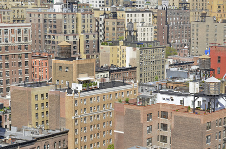 Tightly Packed Buildings in Manhattan, New York  Imagens