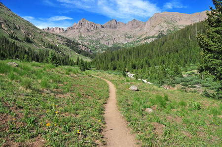 Hiking Trail into the Rocky Mountains, America  photo