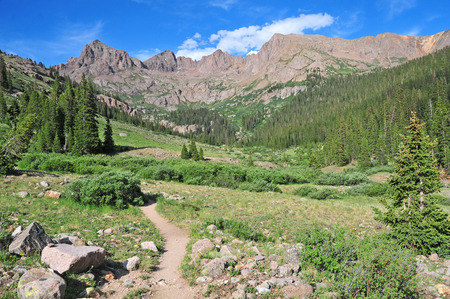 Hiking Trail into the Rocky Mountains, America  Stock fotó