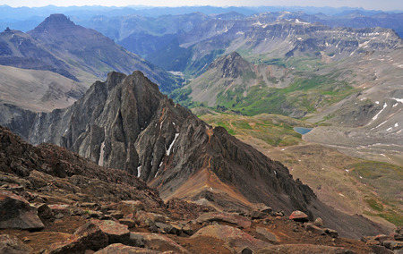 longs peak: View from high on Mount Sneffels, Rocky Mountains, Colorado  Stock Photo