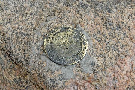 rocky mountains colorado: Mount Bierstadt USGS summit marker, Rocky Mountains, Colorado, USA
