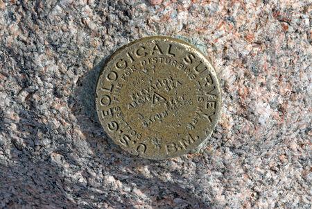 longs peak: Longs Peak USGS summit marker, Rocky Mountains, Colorado, USA Stock Photo