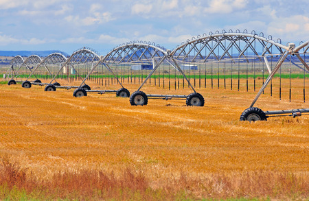 Irrigation System on farm in rural landscape photo