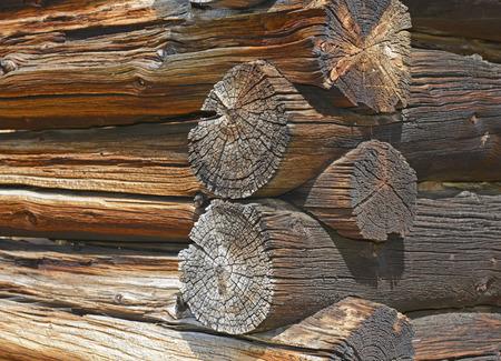 Detail op oude blokhut in verlaten mijnstad, Westelijke Verenigde Staten