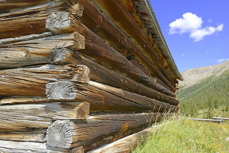 western usa: Old log cabin in abandoned mining town, western USA Stock Photo