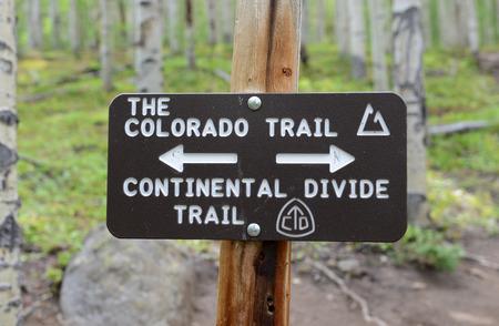 コロラド トレイル ハイキング記号、ロッキー山脈 写真素材