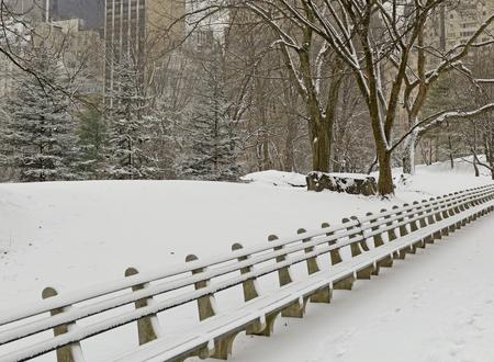 city park skyline: Central Park with snow and Manhattan skyline, New York City