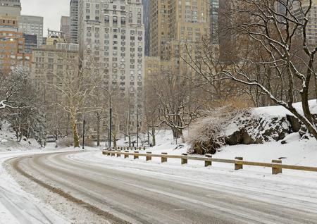 雪とマンハッタン スカイライン、ニューヨーク市セントラル ・ パーク