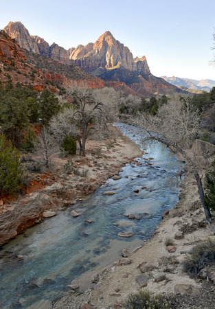 anasazi: Red rock canyon landscape in Zion National Park, California, USA