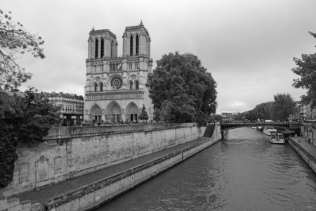 black and white photography: Notre Dame, Paris, France