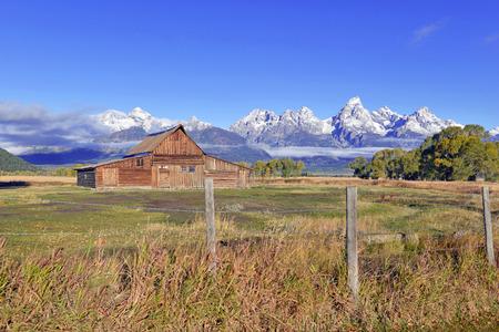 teton: Barn and Grand Teton and the Teton Range, Grand Teton National Park, Wyoming, USA