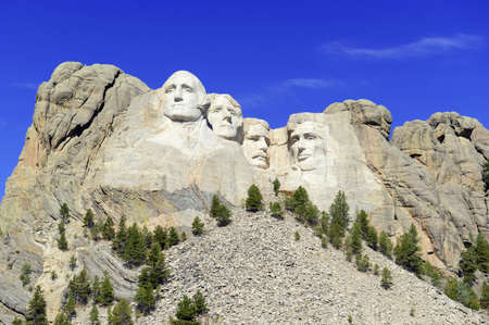 busts: Mount Rushmore National Memorial, symbol of America located in the Black Hills, South Dakota, USA Stock Photo