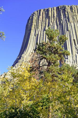 デビルズ タワー国定モニュメント、ワイオミング州の草原から上昇地質地形は人気の観光スポット、ネイティブ アメリカンの伝説と岩登りの登山者