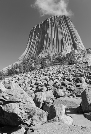 sioux: Devils Tower National Monument, a geological landform rising from the grasslands of Wyoming, is a popular tourist attraction, source for Native American legend and rock climbing goal for climbers
