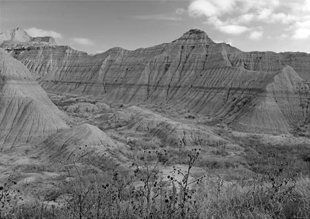 バッドランズ国立公園の風景、風や水による浸食と堆積により形成されたバッドランズ国立公園、サウスダコタ、米国の世界で最も裕福な化石ベッ