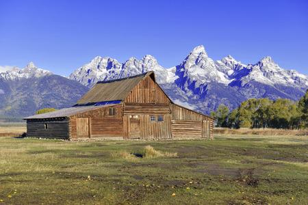 Barn and Grand Teton and the Teton Range, Grand Teton National Park, Wyoming, USA