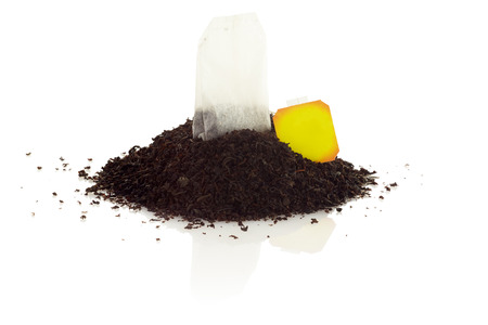 Tea bag isolated on white background. A bunch of black tea.
