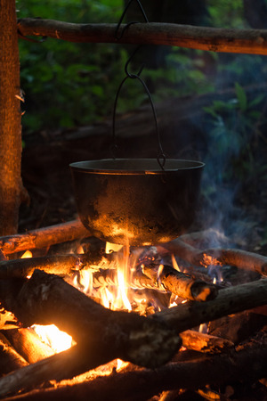 kindling: pan in flames Stock Photo
