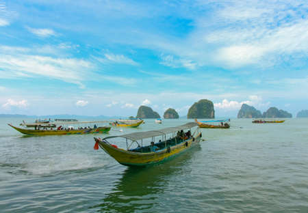 yellow boats: Yellow excursion boats, Thailand