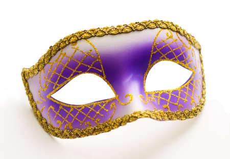 guise: Purple carnival mask isolated Stock Photo