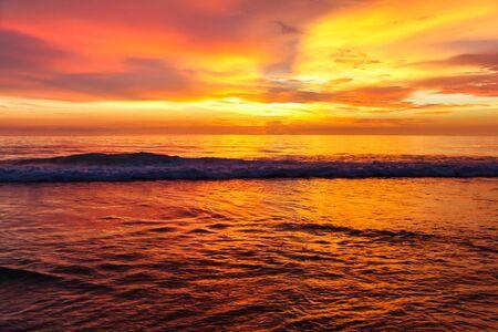 orange sunset: Amazing orange sunset on the andaman sea, Thailand Stock Photo