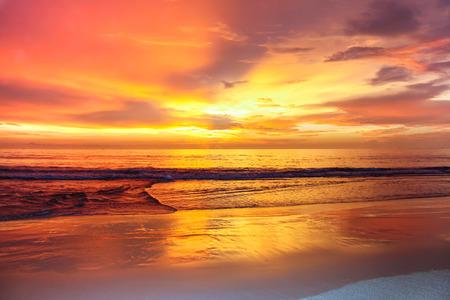 Amazing colorful sunset on the andaman sea, Thailand Stock Photo