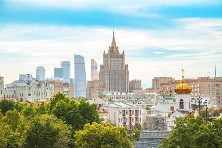 ministry: View of the foreign Ministry, the business center Moscow-city and the roofs, summer landscape of Moscow Stock Photo