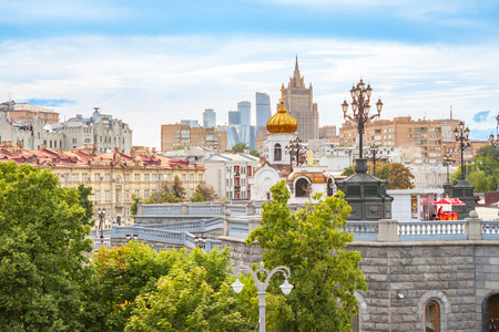 View of the foreign Ministry, the business center Moscow-city and the roofs, summer landscape of Moscow Stock Photo