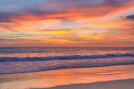 Colorful sunset on the andaman sea, Phuket, Thailand Stock Photo