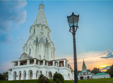 the ascension: The Church of the ascension in Kolomenskoye, summer evening