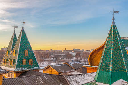 Wooden palace of tsar Alexei Mikhailovich in the Kolomenskoye park, view from the top, winter day, Moscow