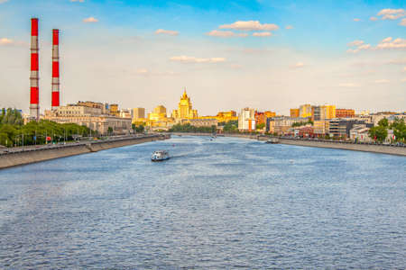 Beautiful summer Moscow landscape, view from the Berezhkovsky bridge on Moscow river and embankments