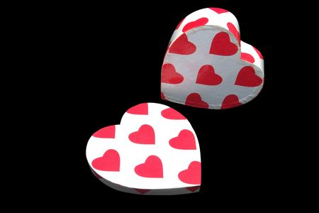 heart shaped box painted with red hearts isolated in black background Stock Photo - 1157741