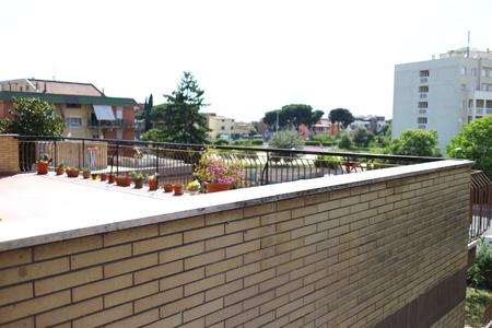 railing: Blurred balcony railing Stock Photo