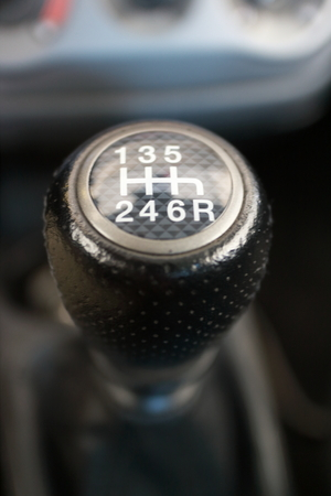 gearshift: Gearshift lever of a sports car