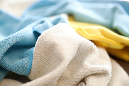 microfiber: Various colored microfiber cloths