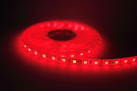 led lighting: Red LED strip light Stock Photo