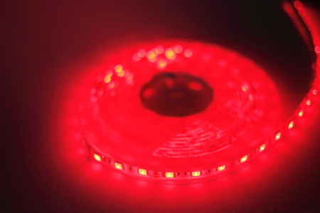 Red LED strip light Stock Photo