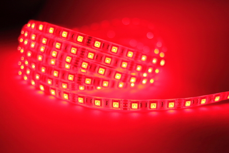 Red LED strip light Stock Photo