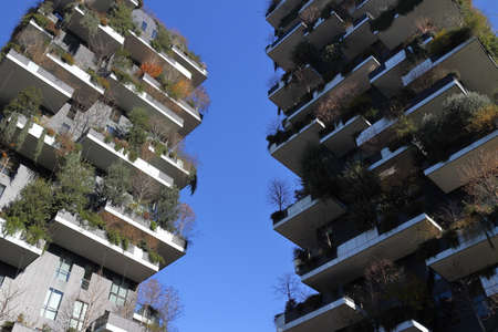 Milan, Italy, 12/24/2018: Modern skyscrapers in the city of Milan