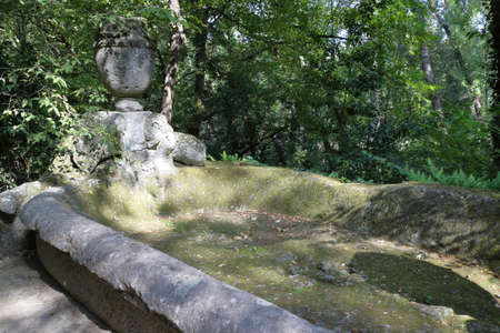 Bomarzo, Italy - 09/30/2017: The famous monster park in the municipality of Bomarzo in Italy