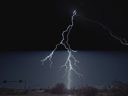Lightning in the sky. Electric discharges in the sky.